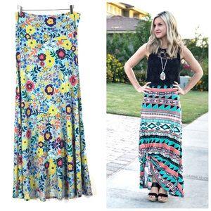 LulaRoe Bright Floral Maxi Skirt Size Medium 10/12